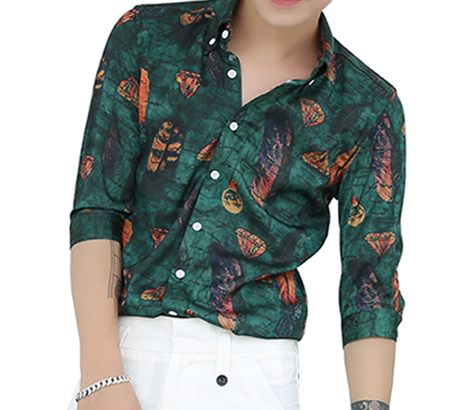 Fashion Floral Scripted Feathers Leaves Mens Green Dress Shirt