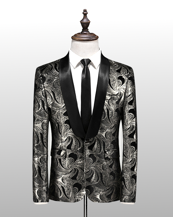 chaqueta de esmoquin para hombre de esmoquin negra ondulada de plata  bordada a la moda 881e550ac62
