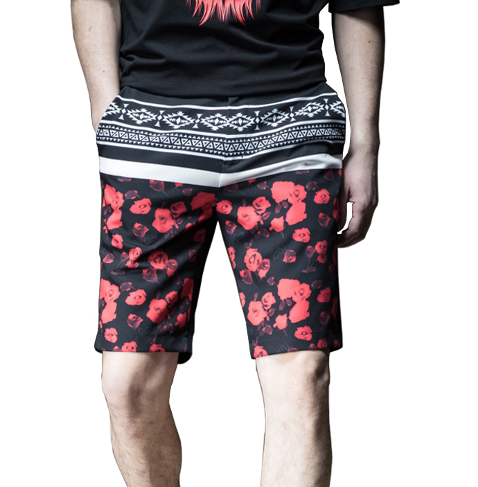 53aa4d9ee3377 Fashionable Slim Fit Printed Mens Tribal Floral Pattern Shorts