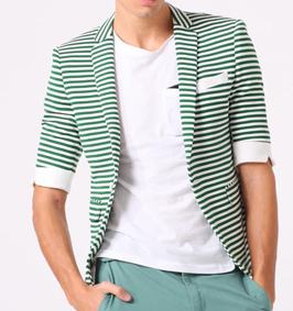 Fashionable Stripes Branco Verde manga curta Blazer
