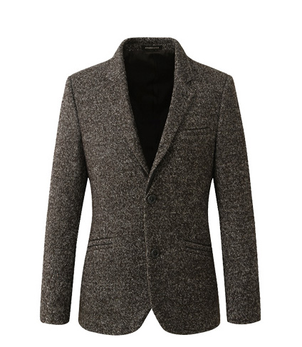 Mens Coffee Tweed Wool Blazer