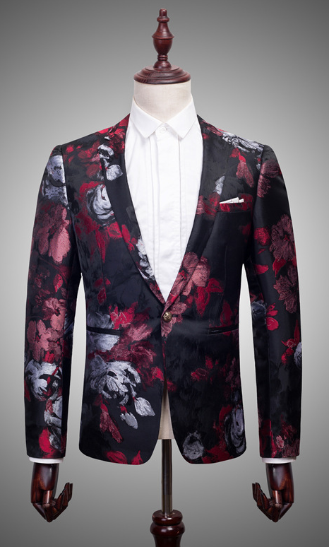 Gentlemens Tailored Black Burgundy Silver Embroidered Floral Blazer at PILAEO