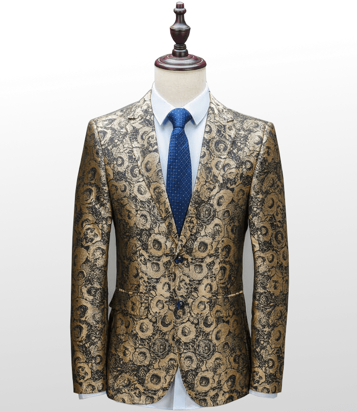 349ddd7543cf Gold Mens Floral Embroidered Fashionable Luxury Blazer Suit Jacket NQHJHFHRQ