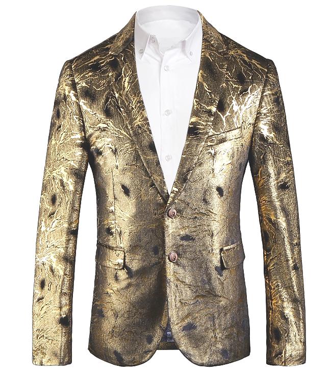 2b7234c75c Gold Shiny Mens Luxury Velvet Blazer