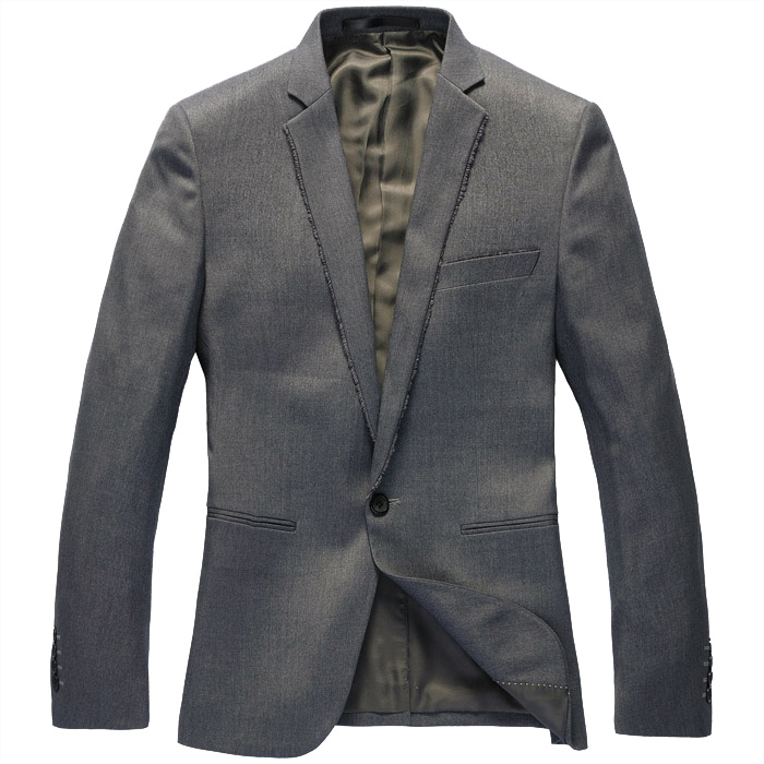 Handsome koreanische Single Button Hellgrau-Blazer-Jacken
