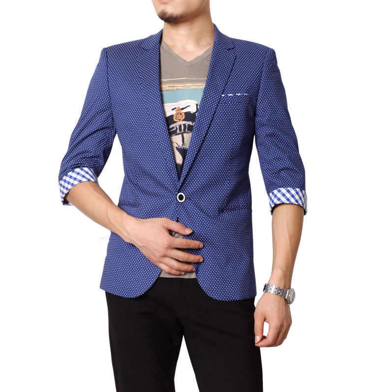 High end cropped sleeve blue white point blazer jacket of for High end white t shirts