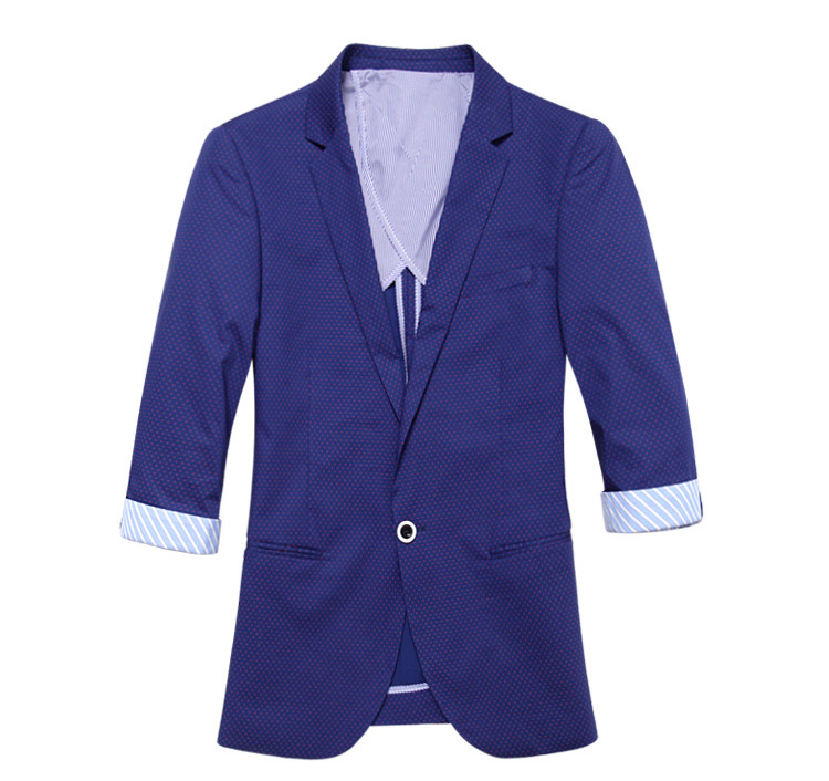 High-End-Freigestellte Ärmeln Blue Red Dot-Blazer-Jacken