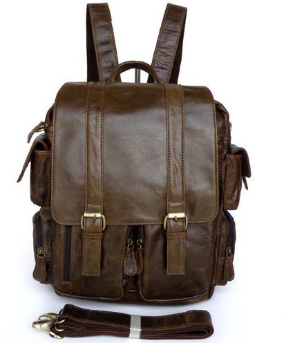 In Style Leather Brown MultiStrap Backpack