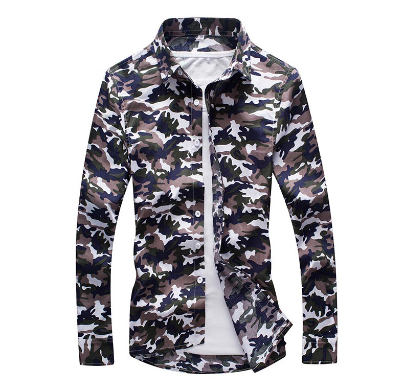 In-Style White Green Brown Mens Camouflage Dress Shirt