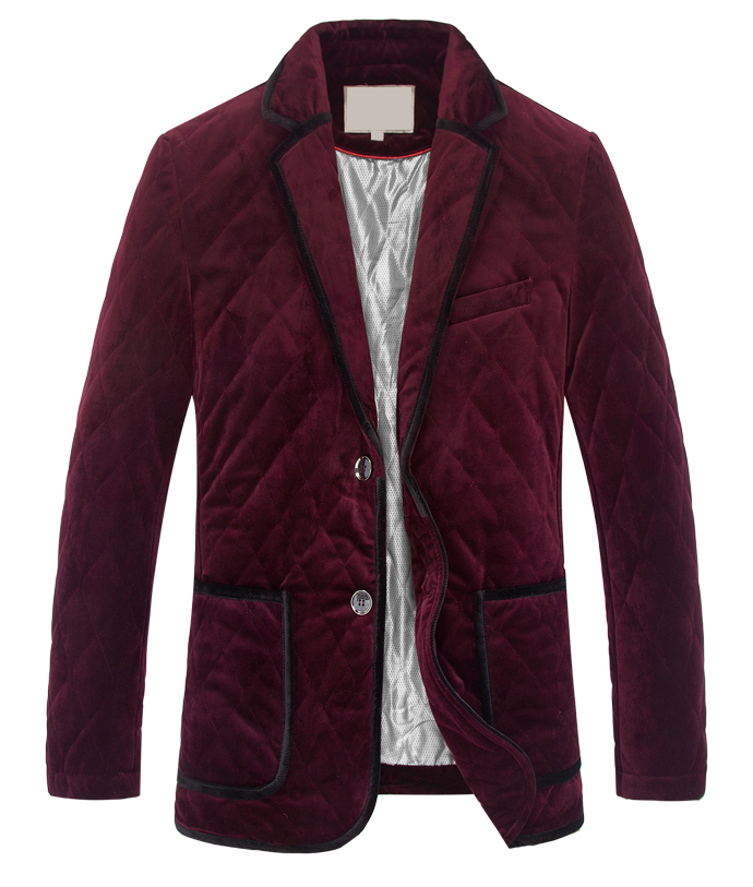 Intriguing Outlined Burgundy Mens Velvet Blazer