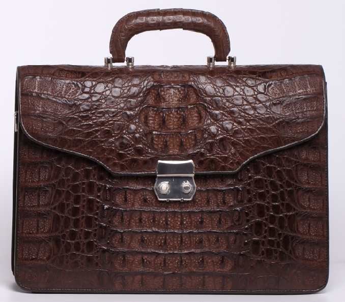 _ Ý Phong cách Brown Genuine Leather Crocodile Luxury Briefcase