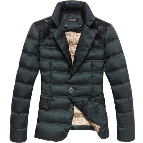 Jazzy Kragen-weiße Duck Down Dark Green-Blazer-Jacken