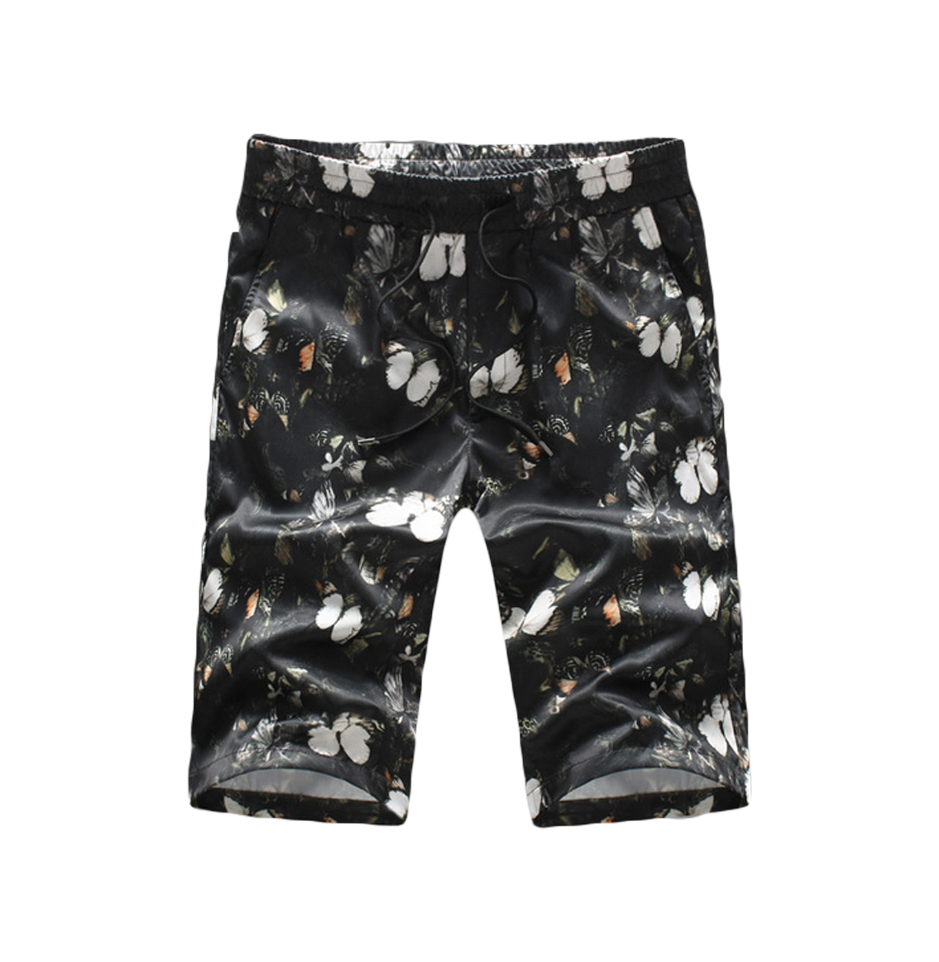 mens black floral shorts