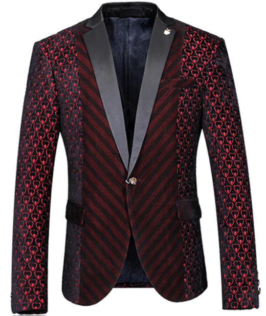 Mens Velvet Burgundy Blazer Heart Sleeves