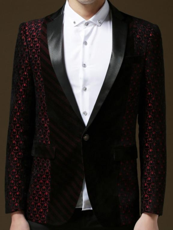 Luxury Burgundy Black Velvet Heart Sleeves Blazer