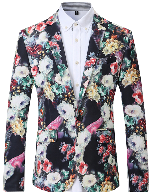 Luxury Colorful New Artsy Floral Mens Blazer Pilaeo
