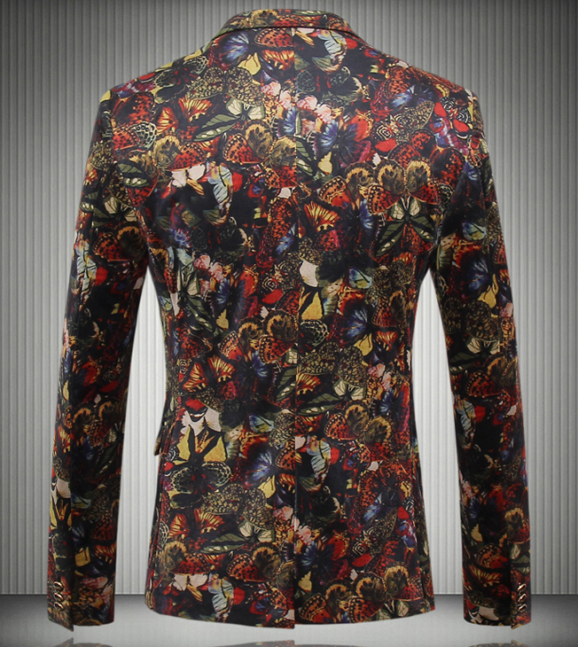 Luxury Floral Butterflies Elegant Fashion Blazer at Pilaeo Mens Fashion