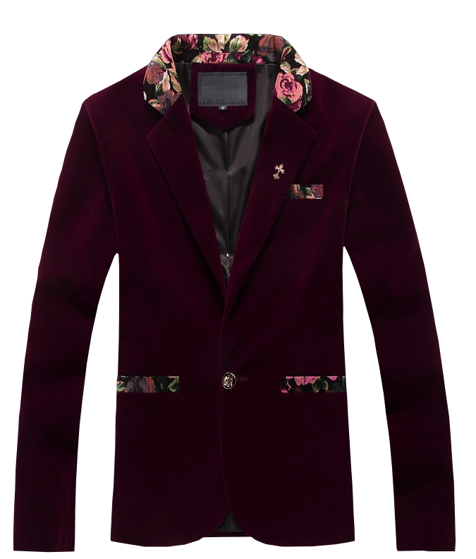 Luxury Burgundy Mens Velvet Blazer Heart Sleeves