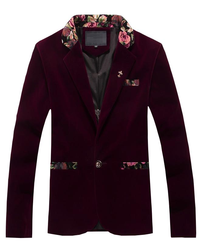 Luxury Burgundy Mens Velvet Blazer Heart Sleeves