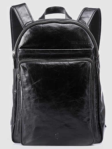 mens black leather backpack | PILAEO