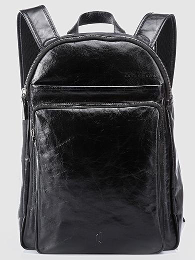 mens black leather backpack | PILAEO