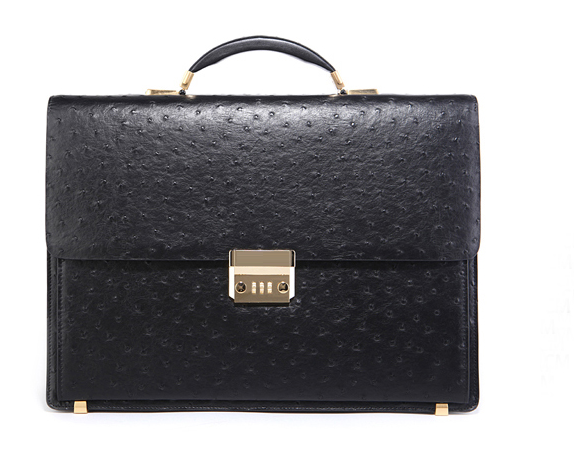 * Luxe autruche grains Mens Black Leather Briefcase IJIX878789 P