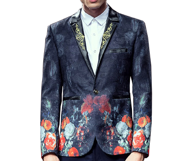 Luxury Rose Floral Paisley Embroidered Charcoal Mens Blazer URJYRKU1PIL