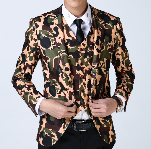 Camouflage mens mode Single Button Blazer
