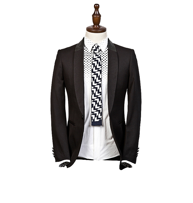 Sophisticated Authentic Men`s Business Casual Blazer preto Jacke