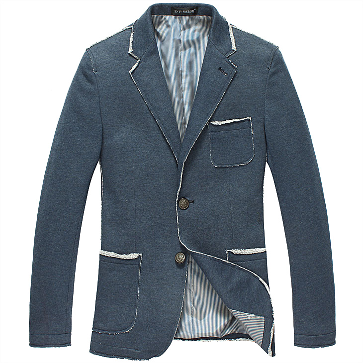 Sophisticated High-end Belas Cotton Azul Estilo Blazer Jacket