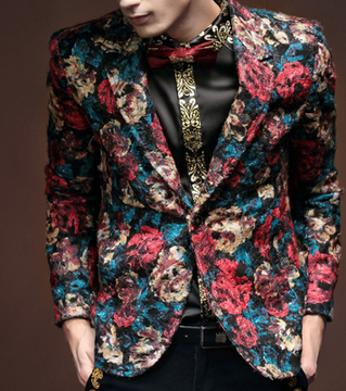 Modern In Style Red Blue Floral Blazer Pilaeo