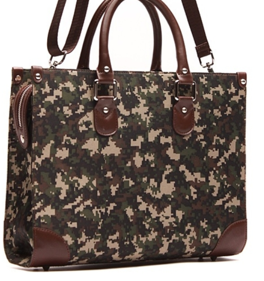 modern tote canvas camo leather trim briefcase bag