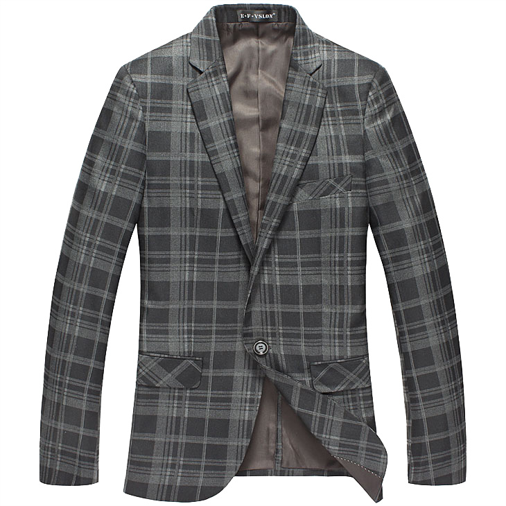 Sophisticated High-End koreanische dünne Plaid Grau Stil Blazer