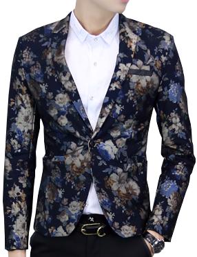 Navy Blue Charming Velvet Floral Mens Blazer