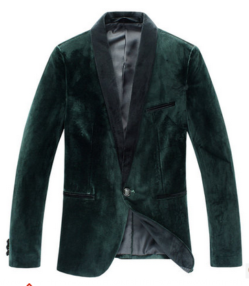 *** High End Dark Green Velvet Metropolitan Nächte PILAEO Blazer