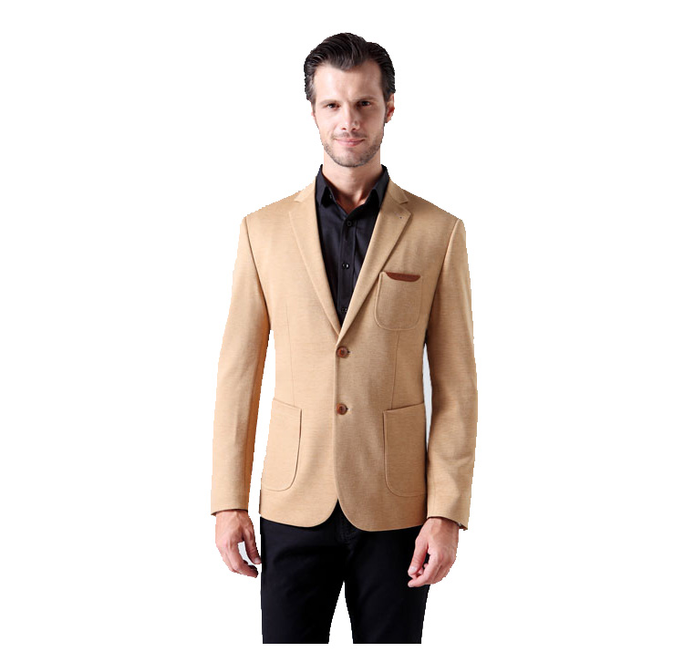 High End Korean Leder Trim Knit Gepolsterte Apricot-Blazer-Jacke