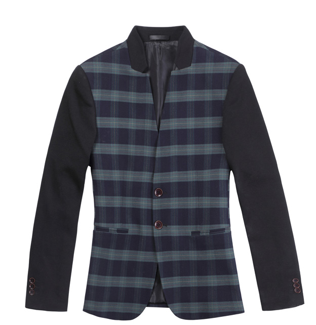 High End Versão Coreana Costura Plaid Colored Blazer Jacket