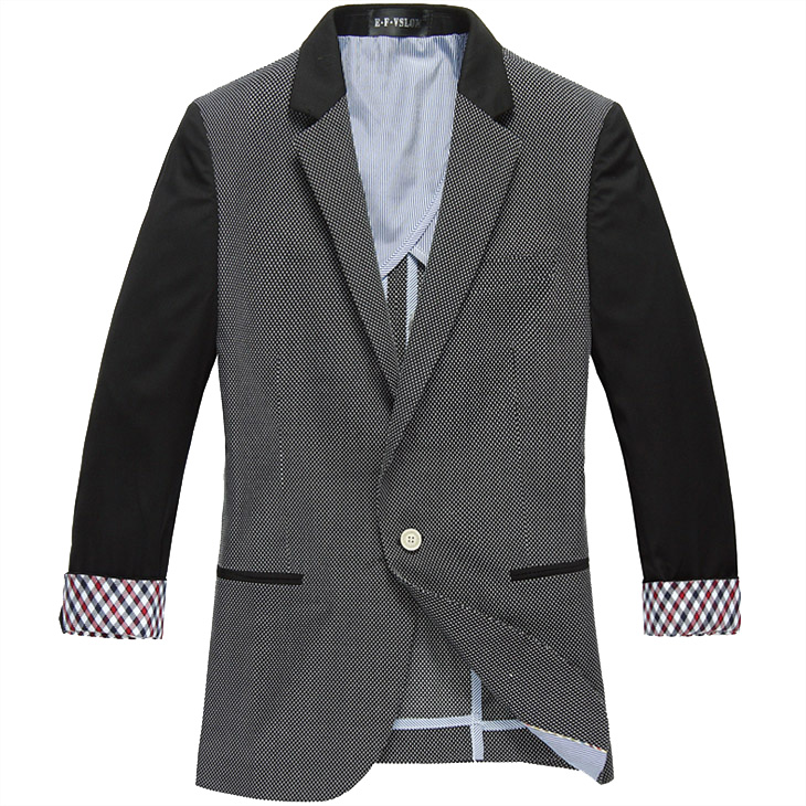 High End Splice coreano Magro Manga Fina Dark Gray Blazer Jacket