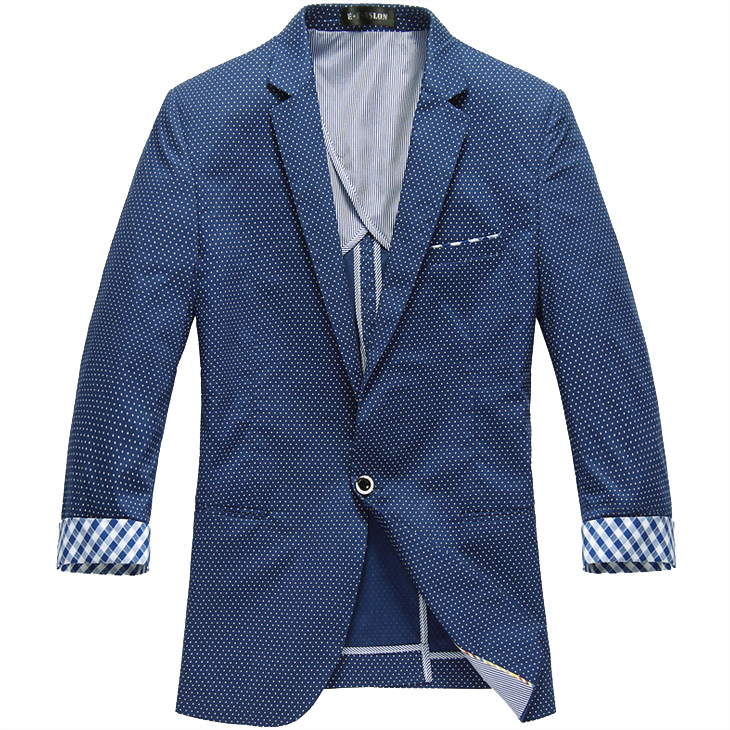 High End-Wellen-Punkt Thin Sleeve Blaue Art dünne Blazer-Jacken-
