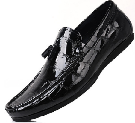 mens black patent leather mocassins