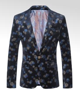 Pixelated Blue Roses Modern Navy Blue Velvet Blazer
