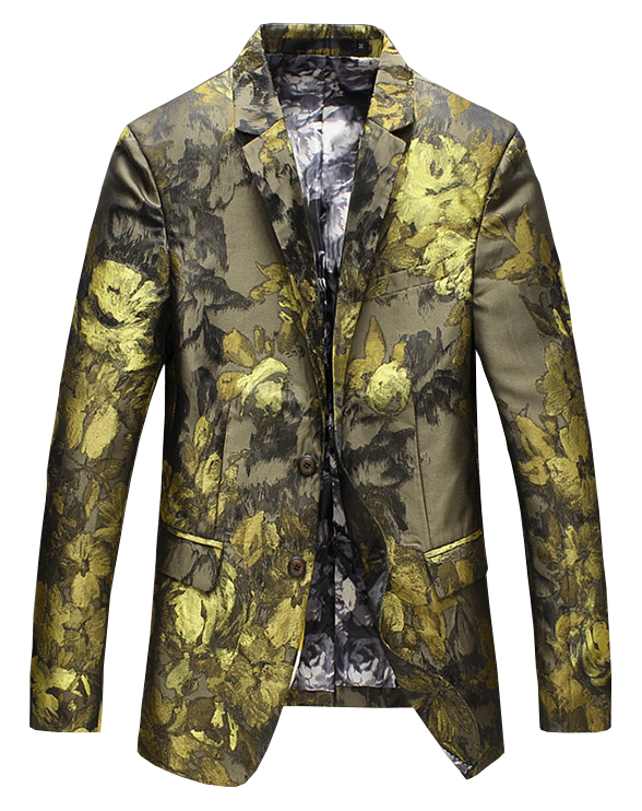 Gold luxury mens casual floral blazer high end embroidered vai PILAEO fashionable blazer selection