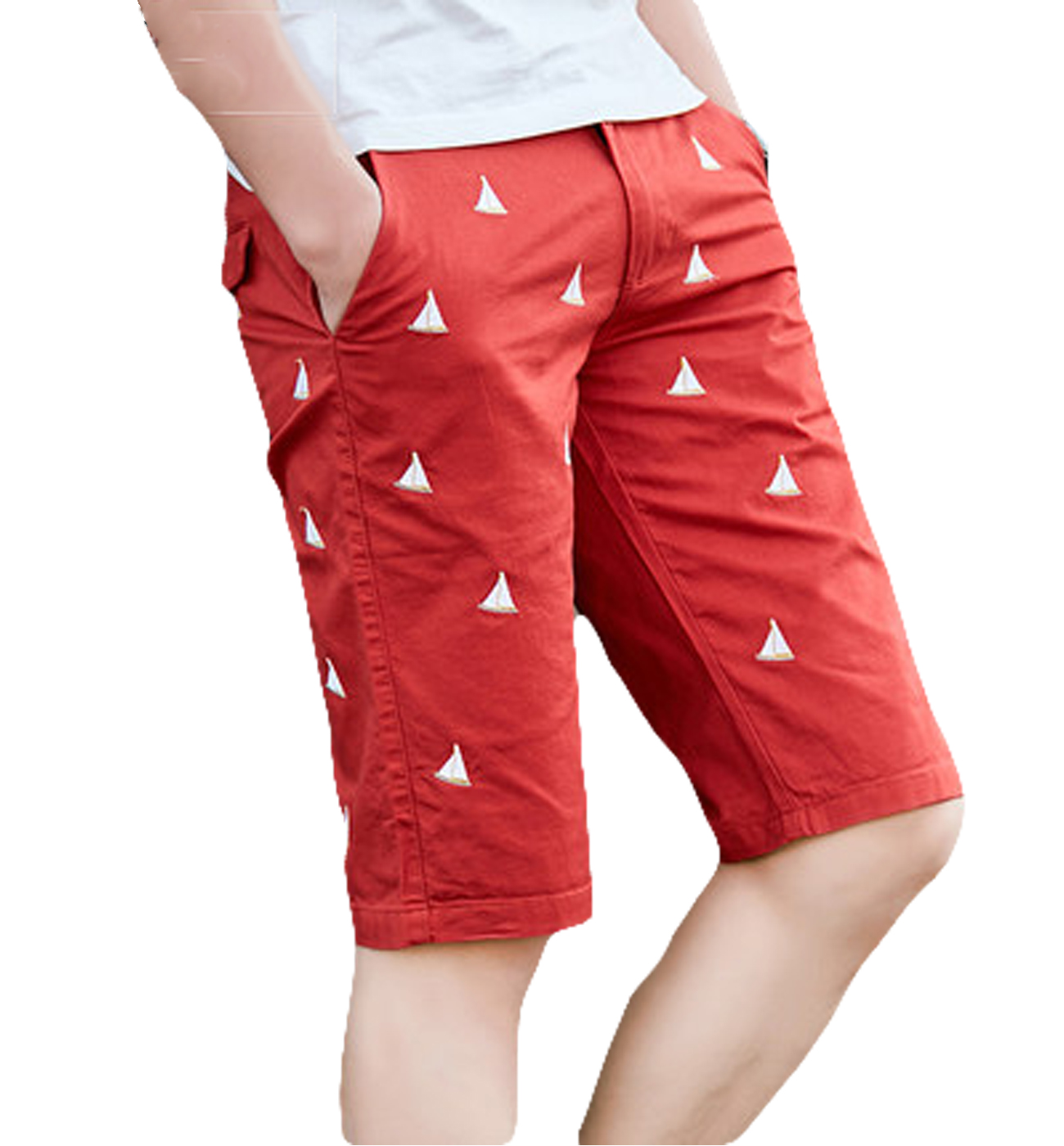 Red modern mens sail slim boats brodé short haut de gamme