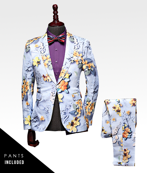 savvy in-style floral hommes costume bleu clair