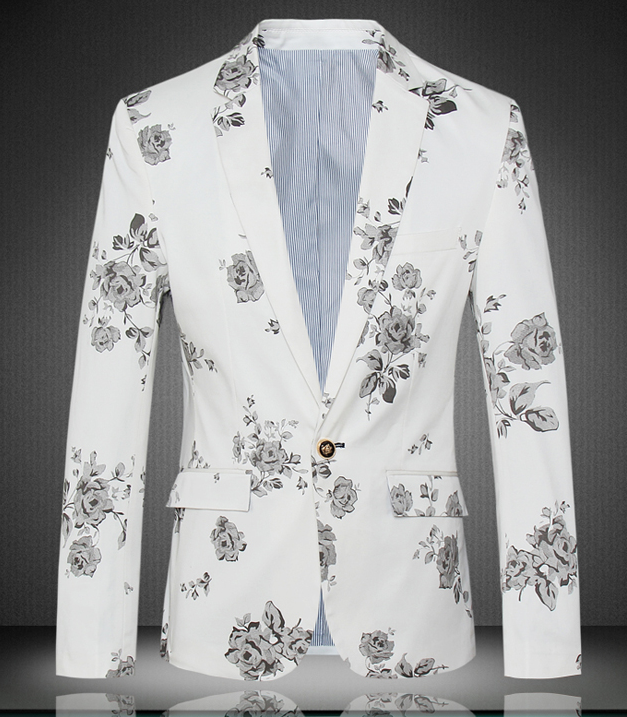 Silver Floral Mens Brilliant White High End Blazer Pilaeo