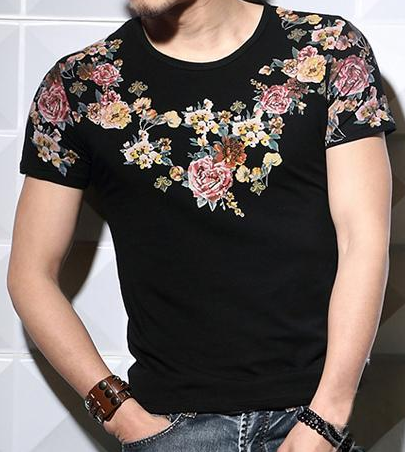 Luxury Black Floral Print T Shirt Pilaeo