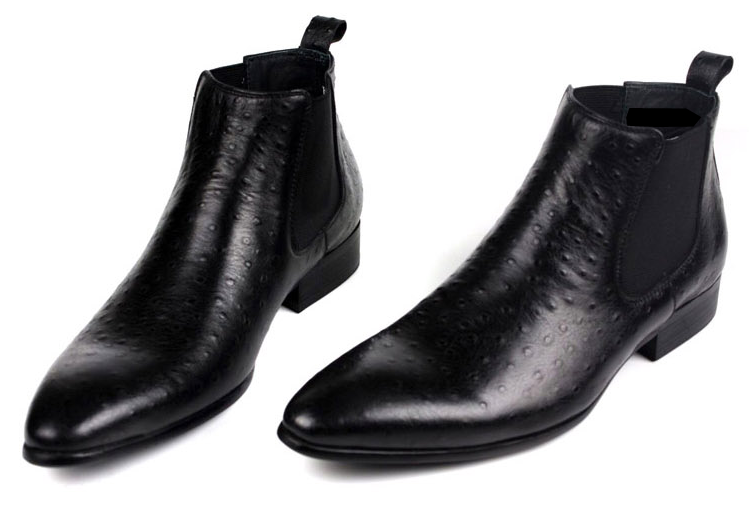 Sleek Black Ostrich Pattern Leather Mens Chelsea Boots