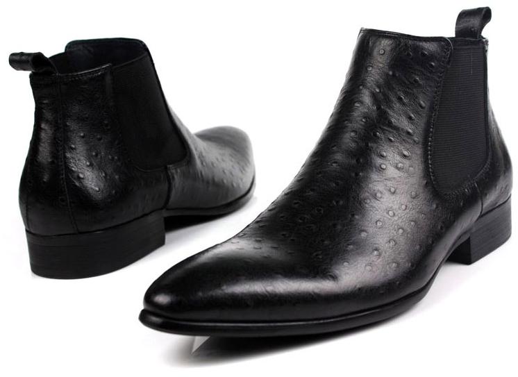 Sleek Black Ostrich Pattern Leather Mens Chelsea Boots