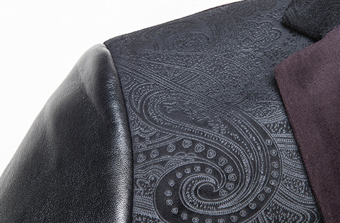 Sleek Fashion Black Velvet Paisley Leather Sleeve 3tone