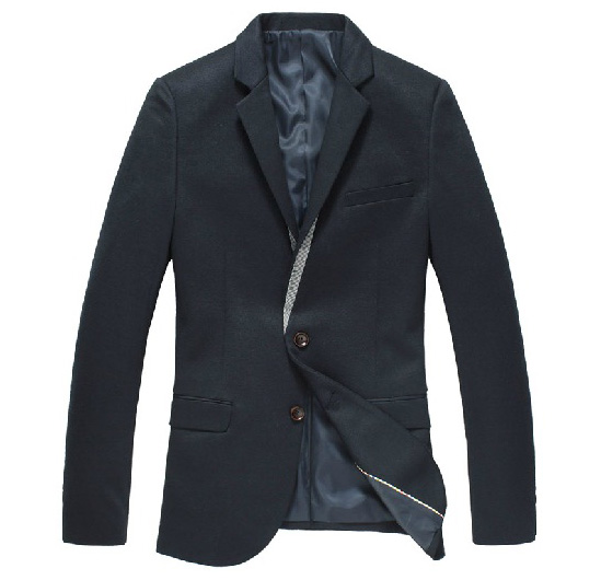 Luxus Korean Fashion Kragen dünnes Navy-Blazer-Jacken
